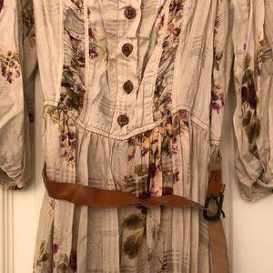 Bohemian floral bubble sleeve peasant dress
